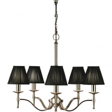 Stanford 5 light pendant - Nickel & black shades