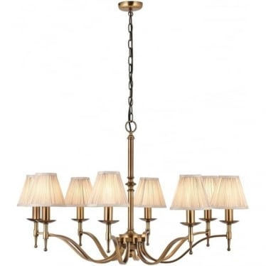 Stanford 8 light pendant - antique brass & beige shades