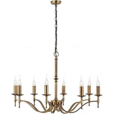 Stanford 8 light pendant - antique brass