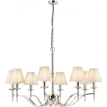 Stanford 8 light pendant - Nickel & beige shades