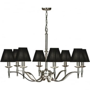 Stanford 8 light pendant - Nickel & black shades