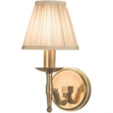 Stanford single light wall fitting - antique brass & beige shade