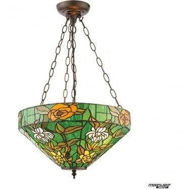 Tiffany Glass Agapantha medium inverted 3 light pendant