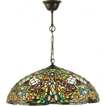 Tiffany Glass Anderson large 3 light pendant