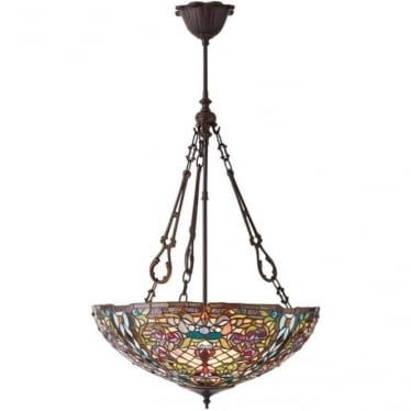 Tiffany Glass Anderson large inverted 3 light pendant