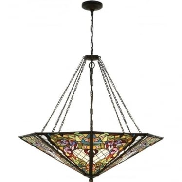 Tiffany Glass Anderson mega panel inverted 8 light pendant