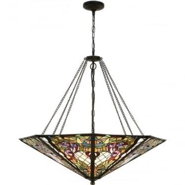 Tiffany Glass Anderson mega panel inverted 8 light pendant