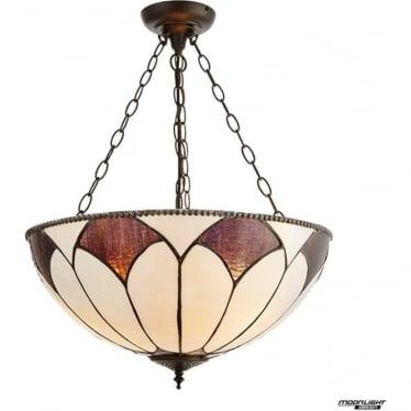 Tiffany Glass Aragon Large inverted 3 light pendant