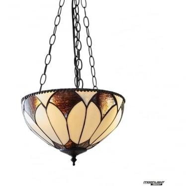 Tiffany Glass Aragon Medium inverted 3 light pendant
