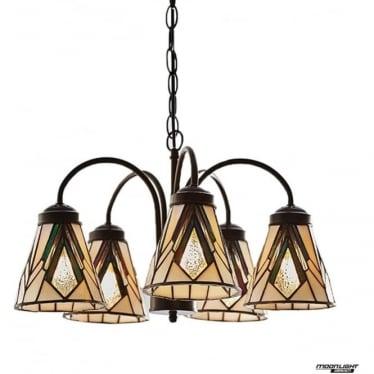 Tiffany Glass Astoria 5 light downlight pendant