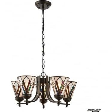 Tiffany Glass Astoria 5 light up light pendant