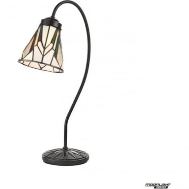 Tiffany Glass Astoria swan neck table lamp