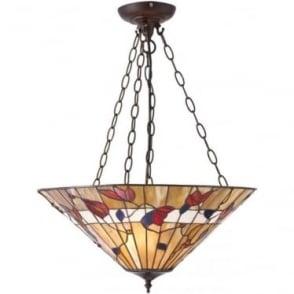Tiffany Glass Bernwood large inverted 3 light pendant