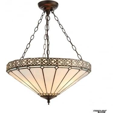 Tiffany Glass Boleyn Large inverted 3 light pendant