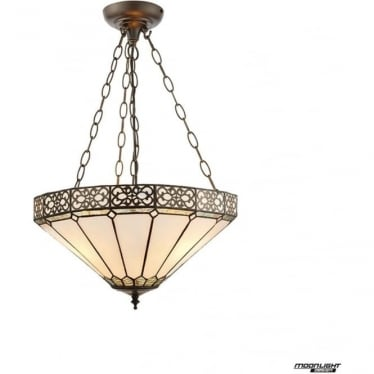 Tiffany Glass Boleyn Medium inverted 3 light pendant