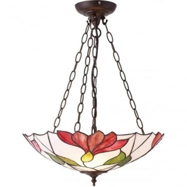 Tiffany Glass Botanica inverted 3 light pendant