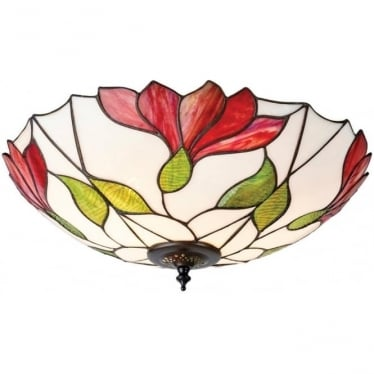 Tiffany Glass Botanica large 2 light flush fitting
