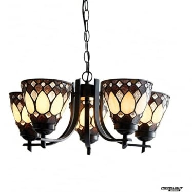 Tiffany Glass Brooklyn 5 light up light pendant