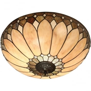 Tiffany Glass Brooklyn large 2 light flush fitting