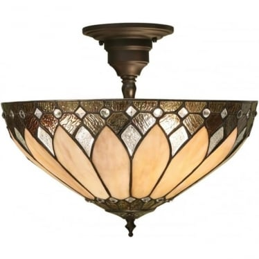Tiffany Glass Brooklyn medium 3 light semi flush fitting
