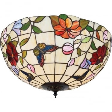 Tiffany Glass Butterfly large 2 light flush fitting