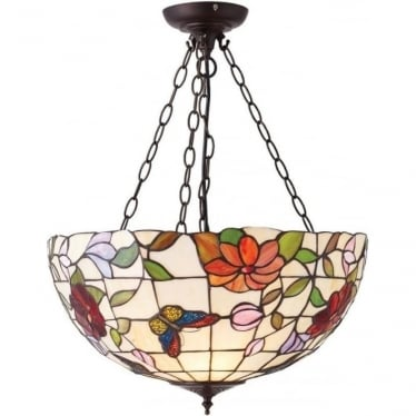 Tiffany Glass Butterfly large inverted 3 light pendant