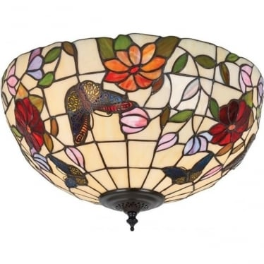Tiffany Glass Butterfly medium 2 light flush fitting
