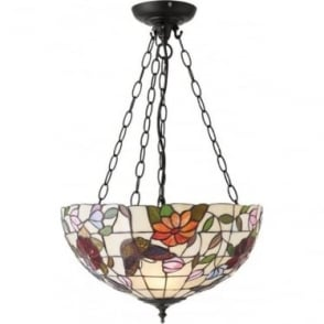 Tiffany Glass Butterfly medium inverted 3 light pendant