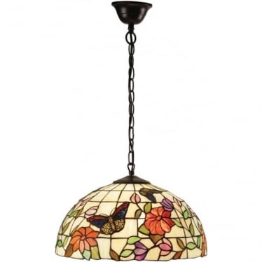 Tiffany Glass Butterfly medium single light pendant