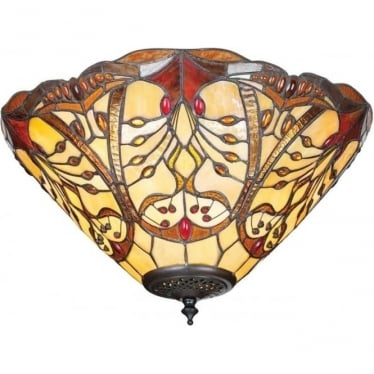 Tiffany Glass Chatelet medium 2 light flush fitting