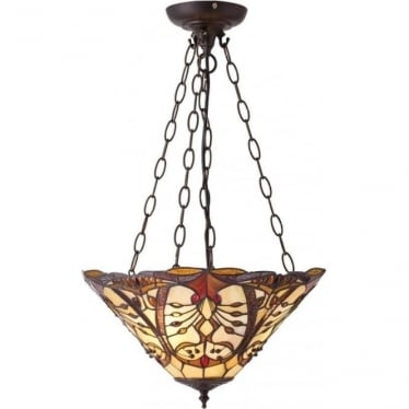 Tiffany Glass Chatelet medium inverted 3 light pendant