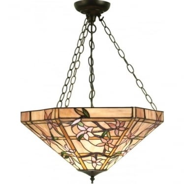 Tiffany Glass Clematis large inverted 3 light pendant