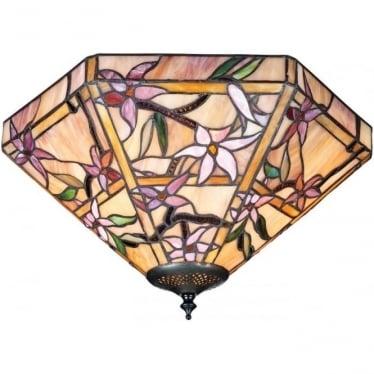 Tiffany Glass Clematis medium 2 light flush fitting