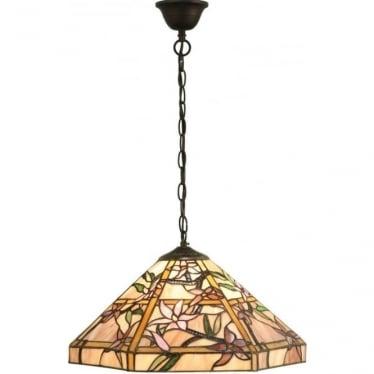 Tiffany Glass Clematis medium single light pendant