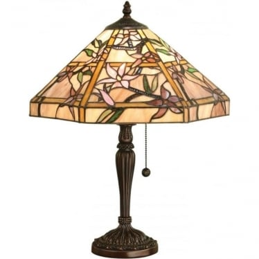 Tiffany Glass Clematis medium table lamp