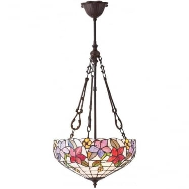 Tiffany Glass Country border medium inverted 3 light pendant