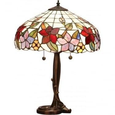 Tiffany Glass Country border medium table lamp