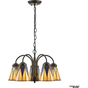 Tiffany Glass Dark star 5 light downlight pendant