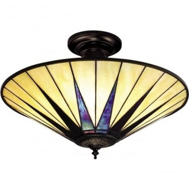Tiffany Glass Dark star large 3 light semi flush fitting