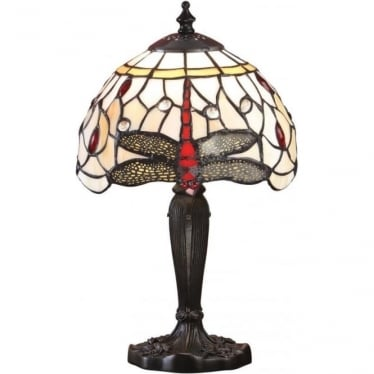 Tiffany Glass Dragonfly beige intermediate table lamp