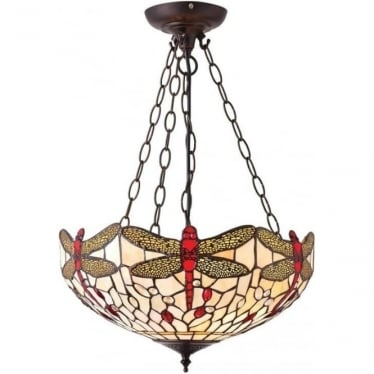 Tiffany Glass Dragonfly beige medium inverted 3 light pendant