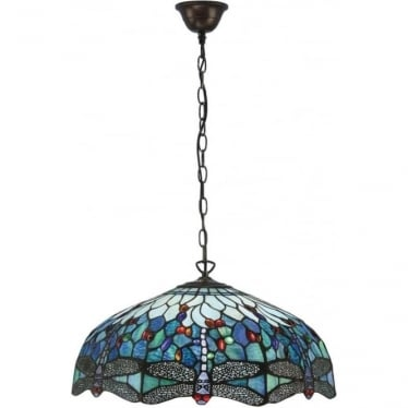 Tiffany Glass Dragonfly blue large 3 light pendant