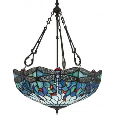 Tiffany Glass Dragonfly blue large inverted 3 light pendant
