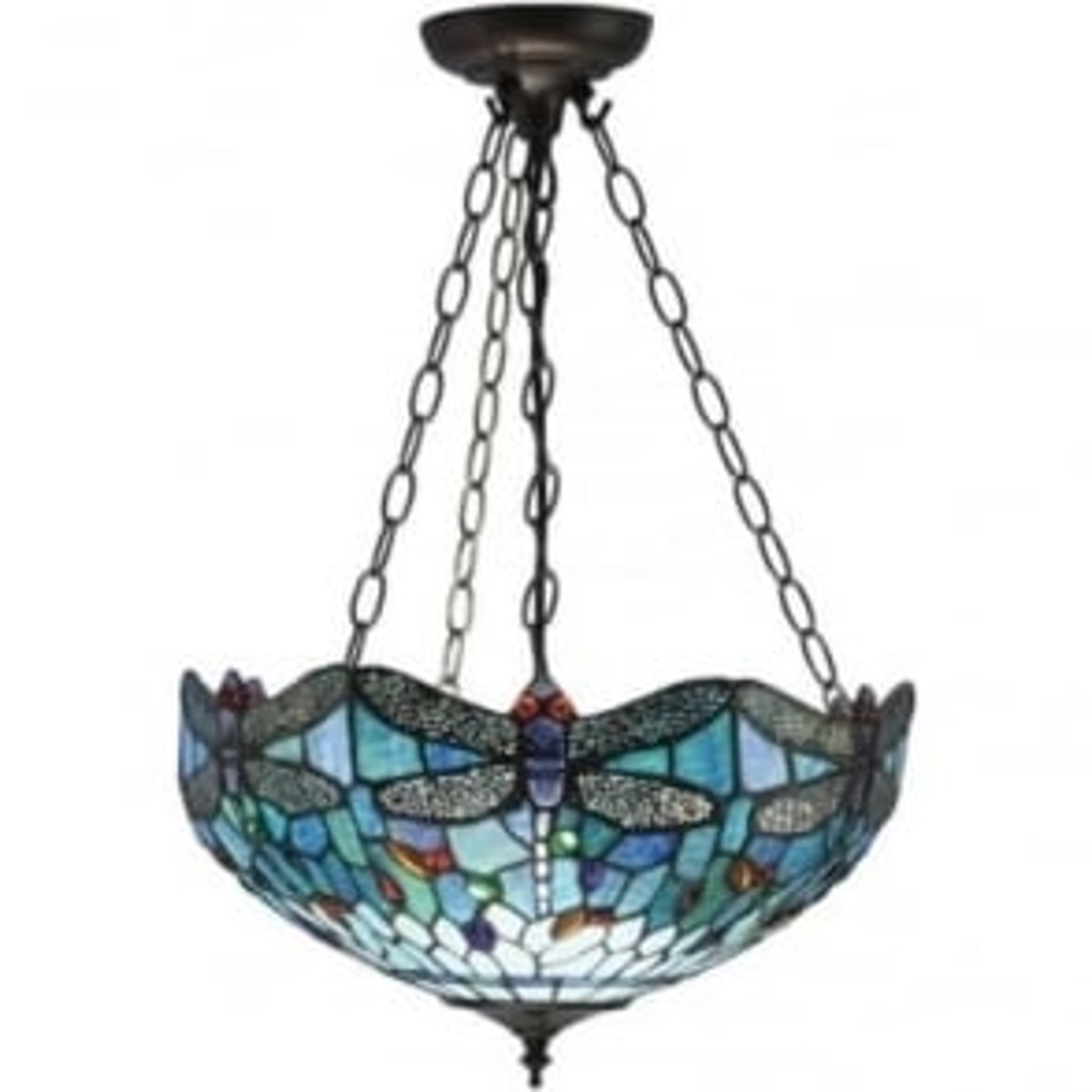 Tiffany Glass Dragonfly blue medium inverted 3 light pendant