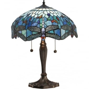 Tiffany Glass Dragonfly blue medium table lamp