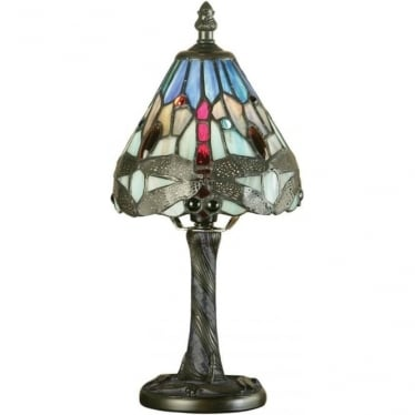 Tiffany Glass Dragonfly blue mini table lamp
