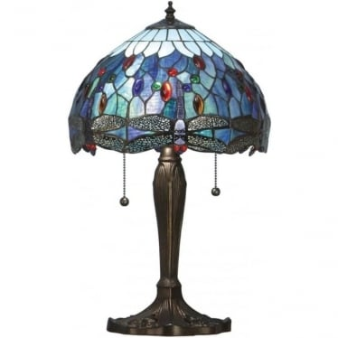 Tiffany Glass Dragonfly blue small table lamp