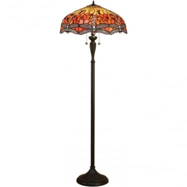 Tiffany Glass Dragonfly flame floor lamp
