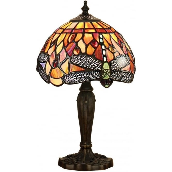 Interiors 1900 Tiffany Glass Dragonfly flame intermediate table lamp