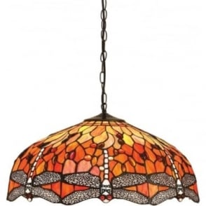 Tiffany Glass Dragonfly flame large 3 light pendant